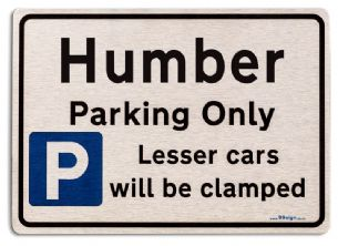 Gift for Humber car owner | New Parking only Sign | Metal face Brushed Aluminium
